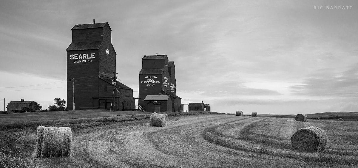 Three tall grain elevators next to field of round hay bales.